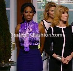 "Kenya Moore's Purple Tie Neck Floral Blouse on ""Celebrity Apprentice: S14 E3″"
