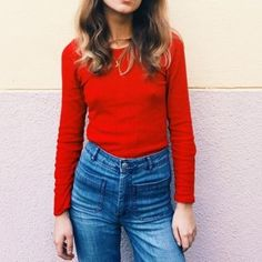 k.mollyHigh waist jeans. ❤️ . . #highwaist #jeans #denim #knit #red #shirt #redandblue #outfit #ootd #90s #women #womensfashion #ハイウエスト #ジーンズ #デニム #赤 #シャツ #ニット #今日のコーデ #今日の服 #レディース #レディースファッション