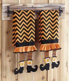 Halloween Chevron Witch Leg Towel at Cassie's Closet