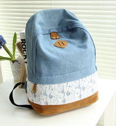 Стильный джинсовый рюкзак с кружевом