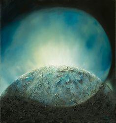 """Genesis 1 vers 1: Sind het begin is God Schepper,van de hemelen en de aarde. De aarde is woestheid en warboel geweest met duisternis op het aanschijn van oervloed...Dan zegt God: ER ZIJ LICHT !!! en er komt licht..(vert. Naardense bijbel)  dit schilderij is de eerste uit de serie """"De """"Schepping"""""""