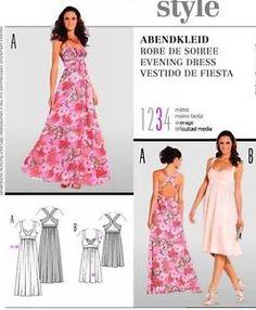 Burda Sew Pattern 7408 Bra Bustier Top Maxi Dress  6-18  OOP