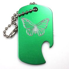 """Butterfly Green Key Chain With 4"""" Chain Dog Tag Aluminum Bottle Opener EDG-0305"""