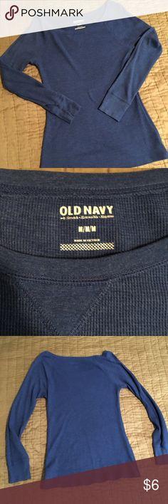 Boat neck waffle knit thermal Deep blue waffle knit thermal. Wide boat neck. Old Navy Tops