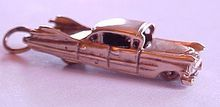 Vintage 14k Gold Charm 1959 Cadillac Automobile ~ Moves with fins and all!