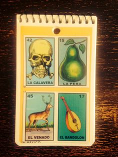 Yellow Mexican Mini Notepad with loteria cards on the cover on Etsy, $3.50