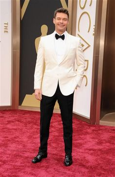 #RyanSeacrest looks dapper in a white #Burberry suit jacket. #hot #love #fashion #redcarpet Check out more hot #Oscars style on Wonderwall: http://on-msn.com/1dR67ex