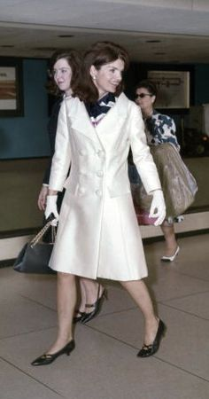 Former First Lady Jacqueline Kennedy walks through an airport circa the late 1960s in Florida.