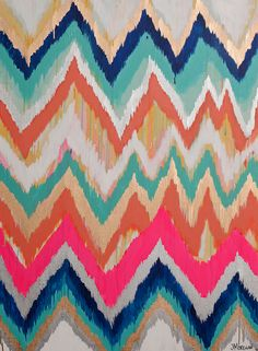 """These chevrons of aqua, orange, red, and gold """"make you want to dance,"""" says artist Jennifer Moreman."""