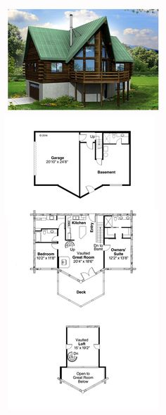 Cottage Style House Plan 41165 with 2 Bed, 3 Bath, 2 Car Garage A Frame House Plans, A Frame Cabin, Best House Plans, Small House Plans, House Floor Plans, Cottage Style House Plans, Cottage Plan, Country House Plans, Cottage Homes
