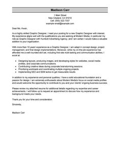 Graphic Design Cover Letter Sample Http Ersume Com Graphic