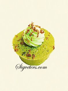 Matcha cakes, hand-painted watercolor illustrations of food desserts