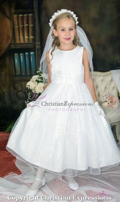 9163d71c105 First Communion Dress Lace Bodice with Silver Beading Size 12 Girls First  Communion Dresses