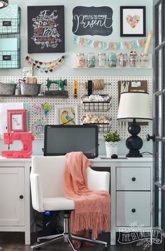Office craftroom tour makeover colorful boho craft room home office with tons of great diy decor and organization ideas the diy mommy my colourful boho Sewing Desk, White Kitchen Decor, Boho Room, Craft Organization, Interior Design Inspiration, Diy Home Decor, Easy Diy, Creative Photos, Creative Ideas
