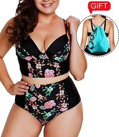 6da7c7c9f5 Camlinbo 2018 Womens Plus Size Swimsuit High Waisted Ruffles Push up Halter  Bikini Set (Large (US B-Floral Pattern)