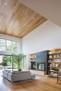 Busy wall but recessed shelving doesn't overwhelm you ... but where are the books?