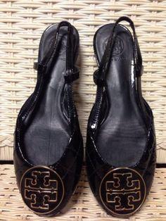 7 Tory Burch Black Patent Quilted Quinn Reva Slingback Flats #ToryBurch #RevaPatent