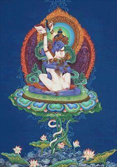 Vajradhara And Consort Giclee Print by Raj Prakash Tuladhar at Tibetan Art Tantra, Tibetan Buddhism, Buddhist Art, Indian Gods, Indian Art, Tibet Art, Sanskrit, Gods And Goddesses, Deities