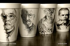 Ode to Breaking Bad.  Art on styro coffee cups by Cheeming Boey