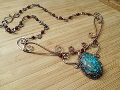 Wire Wrapped Necklace Turquoise Copper Inlay by OurFrontYard