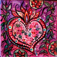 Mexican Crafts, Mexican Folk Art, Heart Nail Art, Heart Art, Mexican Pattern, Heart Mirror, Tin Art, Art Party, Sacred Heart