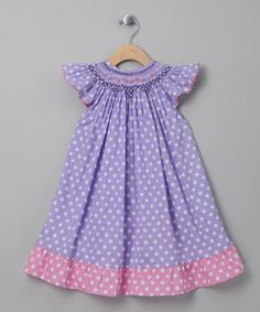 Take a look at this Purple Polka Dot Angel-Sleeve Dress - Toddler & Girls by MeeMee's Little Munchkins on #zulily today!