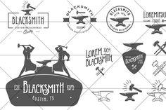 Set of vintage blacksmith logos - Illustrations