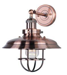 A vintage-inspired design is resplendent in an antique copper finish in Maxim Lightings Mini Hi-bay industrial wall sconce. Maxim Mini Hi-Bay High Antique Copper Wall sconce - Barn Lighting, Wall Sconce Lighting, Coastal Lighting, House Lighting, Industrial Lighting, Lighting Ideas, Copper Pendant Lights, Contemporary Wall Sconces, Maxim Lighting