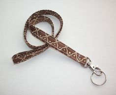 Lanyard  ID Badge Holder - NEW THINNER design - brown gold trellis - Lobster clasp and key ring