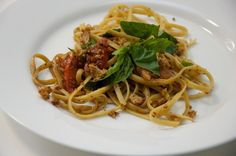 Fettuccine with Tomatoes, Basil and Crisp Bread Crumbs by Dula Notes