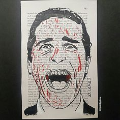 One of two American Psycho page paintings, painted onto pages from the book! This one features Christian Bale as Patrick Bateman in the iconic cover image.  Currently for sale at mrcrypt.bigcartel.com