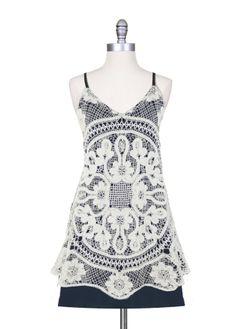 Crochet Overlay Tank Dress