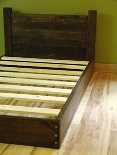 platform bed twin bed low profile bed bed frame headboard reclaimed
