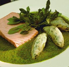 Salmon with Sorrel Sauce and Potato Dumplings - Recipe - FineCooking Sorrel Recipe, Potato Dumpling Recipe, Seafood Recipes, Cooking Recipes, Food Mills, Albondigas, Roasted Salmon, Fish And Seafood, Dumplings