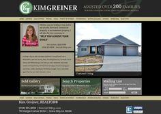 black, green, website design, modern website design, tan accents. Kim Greiner, Iowa City, Iowa Real Estate