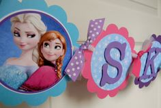 Frozen Birthday Party Name Banner Blue by sweetheartpartyshop