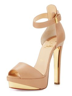 Christian Louboutin Tuctopen leather platform red sole sandal