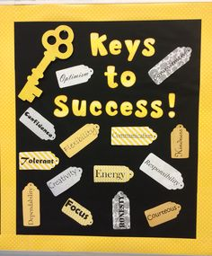 'Keys to Success' high school bulletin board. Characteristics printed on scrapbook paper and cut out in tag shapes. 'Keys to Success' high school bulletin board. Characteristics printed on scrapbook paper and cut out in tag shapes. Counseling Bulletin Boards, Back To School Bulletin Boards, Classroom Bulletin Boards, School Classroom, English Bulletin Boards, Welcome Bulletin Boards, Counseling Office, Counseling Activities, Bulletin Board Ideas For Teachers