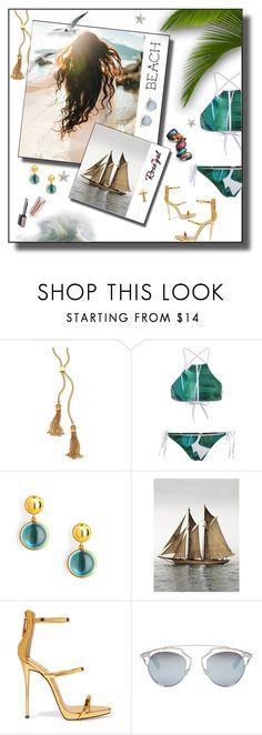 """Palm Leaf Print High Neck Bikini"" by tjuli-interior ❤ liked on Polyvore featuring Chloé, Luxo, Syna, Giuseppe Zanotti, Christian Dior and Chaos"