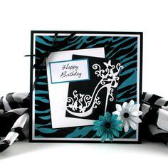 Zebra print card, feminine birthday card,  personalized card,  high heel shoe card, for female, women, woman, girls