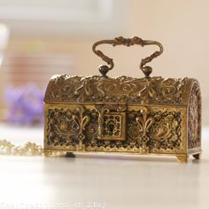Antique Jewelry Box Keepsake Art Nouveau Brass by CozyTraditions  https://www.etsy.com/shop/CozyTraditions