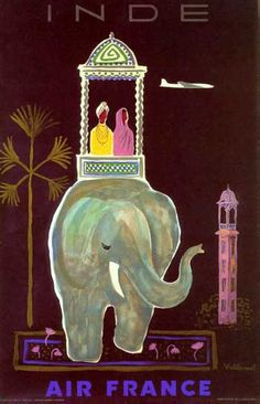 Air France vintage India travel poster - inspiration for invitations Travel Ads, Travel And Tourism, India Travel, Travel Photos, France Travel, Airline Travel, Travel Guide, Air France, Vintage India