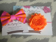 Fabric Bow Clip and Chiffon Flower Headband Big by ThePrettyCan, $12.00