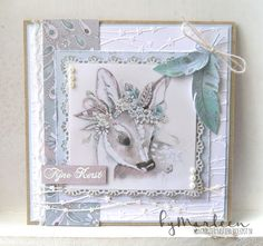 Handmade card by DT member Marleen with Craftables Basic Square (CR1332), Feathers (CR1412) & Design Folder Extra Celestial Stars (DF3439) from Marianne Design