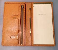 Vintage Wallet Pigskin Made in Japan Notepad & Gold Pen Bi-Fold~Stamps& Cards~  | eBay