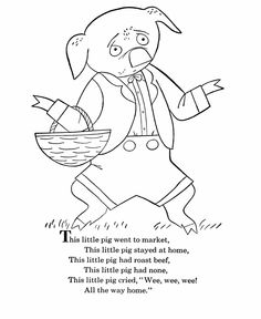 bluebonkers nursery rhymes coloring page sheets this little pig mother goose