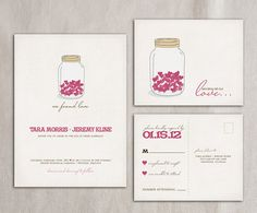 Mason Jar wedding invitation set