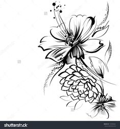 Black Background With White Flower Drawings Stock Photos, Images ...