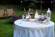 not set up like this but cute idea if we have a bonfire after the reception ends or the night before the wedding...everybody loves SMORES!