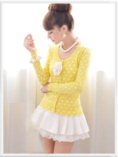 Morpheus Boutique - Yellow Dots Long Sleeve Button Down Knit Sweater Jacket, Pretty Outfits, Cool Outfits, Cool Coats, Sailor Fashion, Korean Girl Fashion, Sweet Dress, Korean Women, Kawaii Fashion, Ladies Dress Design